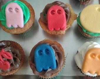 Fondant pac man inspired cupcake toppers or cake kit