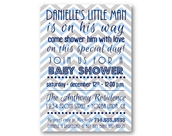 Boy Baby Shower Invitation - Blue and Gray Chevron - Digital File