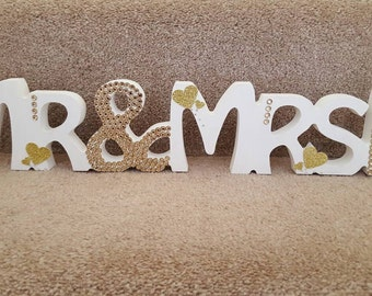 Mr and Mrs with Initial Surname Free standing Wedding Sparkly Crystal Sign Table Decoration Center Piece Mrs Mrs Mr Mr