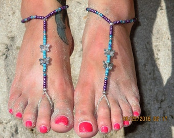 Barefoot Sandal Teal and Purple Beaded Barefoot Sandal with Silver Butterflies (bf15)