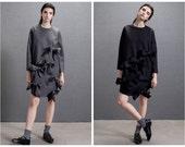 black dress,gray dress,oversized dress,winter dress,long sleeve,womens dresses,unique dress,fashion dress,cute dress,short dress.--E0671