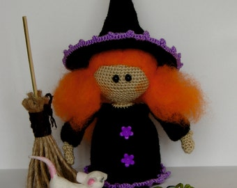 Witch Doll Halloween Art doll Decor Halloween witch Cute Doll Ginger Toy Halloween gift Halloween decoration Halloween props