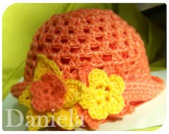 Baby Girl Orange Flower Hat, Crochet Flower orange cotton Hat, Orange Baby Hat for Wind and Sun, Boquet Children Hat,