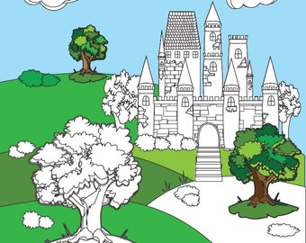 Adult Coloring Books: Castles 20 Designs Digital Download Calming, Soothing, Fun and Relaxing