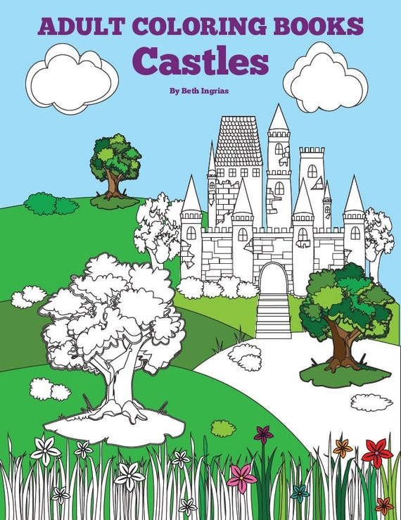Adult Coloring Books Castles 20 Designs Digital Download