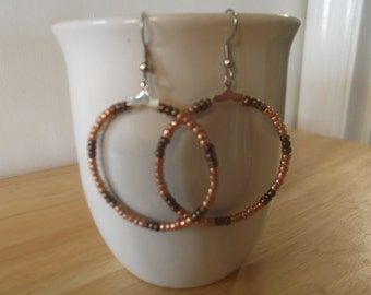Silver Hoops With Copper Seed Beads Earrings