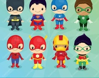 Superhero boys clipart, Superhero clipart, Hero clip art, Super Hero clipart / INSTANT DOWNLOAD -LN069-
