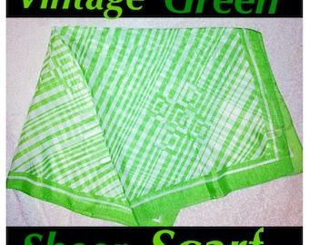 Vintage Sheer Green and White Print Scarf, Made in Italy.  Stripes and Squares Print.