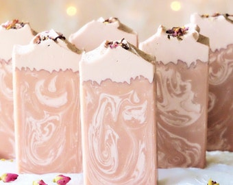 English Rose handcrafted soap featuring French Rose Clay and Tussah Silk