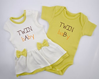 Twins Baby Bodysuits, Set of 2 - Baby Girl Bodysuit Dress & Baby Boy Bodysuit, Funny Twins Set, Green/Cream Set of Twins, Twins Gift
