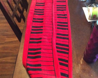 """82"""" Red and Black Keyboard Piano Scarf"""