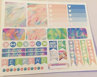 Watercolor swirls weekly planner stickers -stickers for planners, journals, scrapbooks and more!