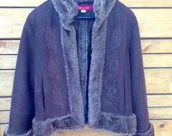 1980's Anne Klein faux fur/suade jacket. Retro Boho in Expresso Brown.