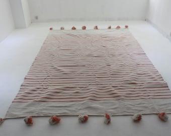 Peach Moroccan Pom Pom Blanket