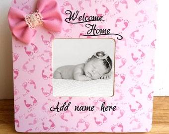 Pink Baby Feet frame, welcome home custom frame, baby shower gift