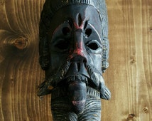 Wood Carved Guatemalan Dance Mask Children's Size Pedro de Alvarado Conquest Dance Moors and Christians Polychrome