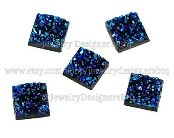 12mm Faux Druzy Cabochon Drusy Blue Green Chunky Druzy Cabochons Resin Iridescent Druzies Stud Earring Post Earring 12mm Bezel Kawaii Square