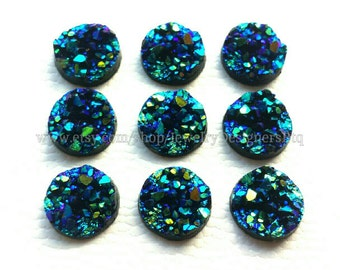 10mm Druzy Cabochon Iridescent Resin Faux Druzy Drusy Cabochons Kawaii Cabs Fits 10mm Flat Round Bezel Moonstone Midnight Blue