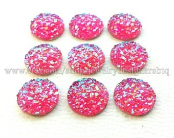 10-50pcs 12mm Druzy Cabochon Faux Druzies Cabochons Kawaii Resin Glitter Cabochon Cellphone Deco Earring Finding Iridescent Faux Druzy