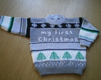 Pdf Knitting Pattern for Baby Christmas Jumper by Angela Turner, 0-3m, 3-9m, 9-12m
