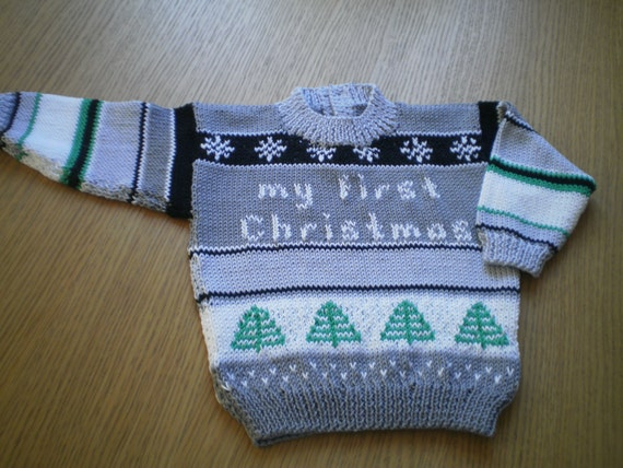 Pdf Knitting Pattern for Baby Christmas Jumper by Angela
