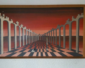 DAVID HINGE - 1932-2000 Some Hope .... Some Day dated 1972 Very Large Painting
