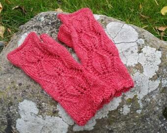 Handmade fingerless mittens, armwarmers, lace fingerless gloves
