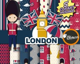 "SALE London Digital Paper + Clipart : ""London Paper""- England London Clipart, London Birthday Invitation, London Printable, Big Ben"
