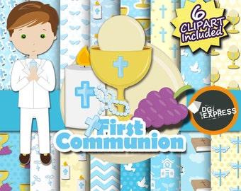 "SALE First Communion Digital Paper + Clipart - Boy : ""First Communion Paper"" -Christian Clipart, Christening Invitation, Religious"