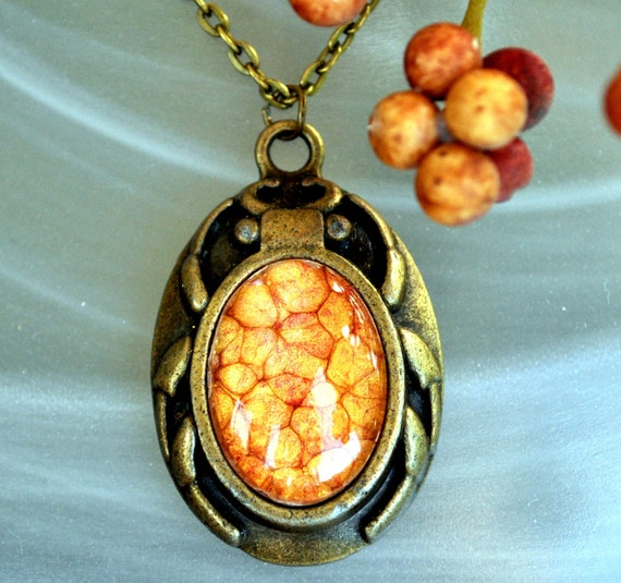 Unique Halloween / Goth Pendant Jewelry - Scarab Necklace - Painted Glass Pendant - Beetle Jewelry - Orange Bug Jewelry - Fall jewelry