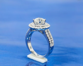 Round Certified 1.01ct Engagement Ring Set In 18k White Gold. Double Halo With 1.91cttw Of Sparkling Diamonds.