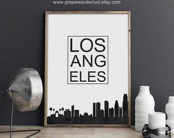 Los Angeles skyline, Los Angeles art, Los Angeles print, California art, California print, typography print, Modern Minimalist, office décor