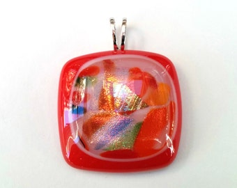 Dichroic Fused Glass Pendant  - Frames Collection - Red, white, gold, green (C61)