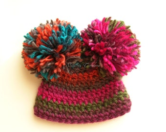 Ready to Ship Сrochet Newborn Pom Pom Hat  0-3 months