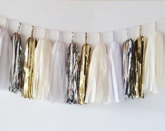White & Gold Tassel Garland