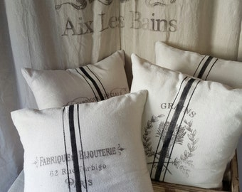 Grain sack inspired pillow covers--Fabrique DeBijouterie pattern