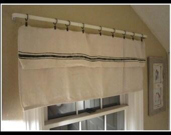 Grain sack inspired window valance