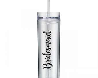 Personalized Skinny Acrylic Tumbler, Bridesmaids, Gifts, Wedding, Bachelorette, Bride, Maid of Honor, Bridal Shower, Party