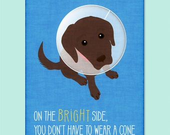 Funny Dog Greeting Card - get well soon card - funny get well soon card - dog get well soon card - cone card - dog cone card - feel better