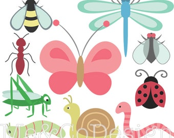 Bugs Clipart, Digital Clipart, Insects Clip Art Butterfly Clipart Instant Download, Personal and Commercial Use Clipart, Digital Clip Art