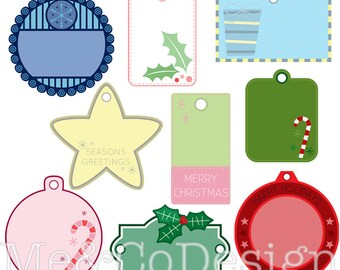 Tags Clipart, Fun Pretty Clipart, Retro, Christmas Instant Download, Personal and Commercial Use Clipart, Digital Clip Art