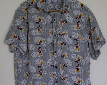 Vintage Mickey Mouse Button Up Silk Shirt