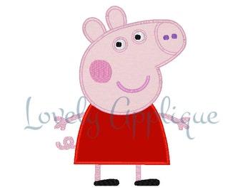 Peppa Pig Applique Design - Instant Download