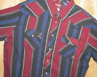 Wrangler Shirt Western Flannel Shirt 1980s Mens Vintage Blue / Black / Red Stripe extra Large 80s / Long Sleeve Cowboy XL