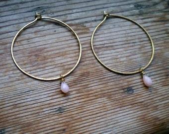 Natural pink opal earrings / pink opal earrings / genuine pink opal / brass earrings