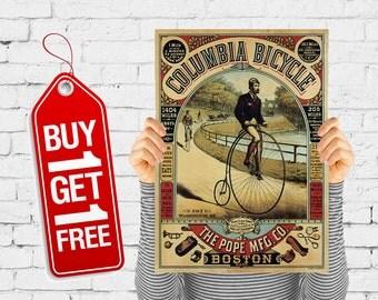 Penny farthing bicycle poster retro wall art vintage poster vintage advertising cycle big wheel bicycle - Columbia bicycle Boston (2733)