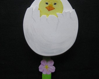 Chicks from the egg, wooden toys, Easter, spring