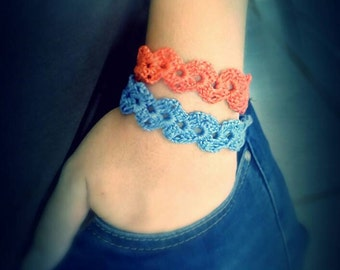 Beautiful handmade bracelet . Crocheted bracelet ,with button to close. Choose your color...