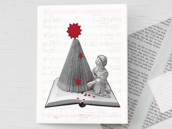 Christmas card with handmade envelope , book pages, nostalgic card with folded book Christmas tree, as book voucher, for bookworms