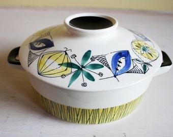 Stavangerflint, Bambus, Flamingo, ONE LEFT casserole dish with lid, rare, Norway, Inger Waage, Norwegian design, green, blue, yellow